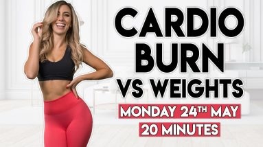 QUICK CARDIO BURN vs WEIGHTS (full body) | 20 minute Home Workout