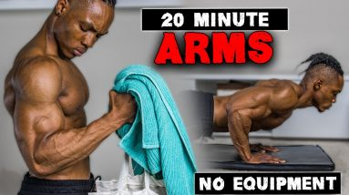 20 MINUTE ARMS WORKOUT (NO EQUIPMENT)   BICEPS, TRICEPS, & SHOULDERS   FOR BEGINNERS ALSO!