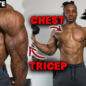 30 MINUTE CHEST AND TRICEP WORKOUT AT HOME (DUMBBELLS ONLY!) | NO BENCH NEEDED - DAY 1