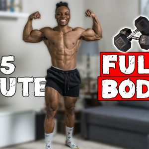 35 MINUTE TOTAL BODY DUMBBELL WORKOUT | BUILD MUSCLE AND BURN FAT | FITBEAST PHYSIO BAND WARMUP